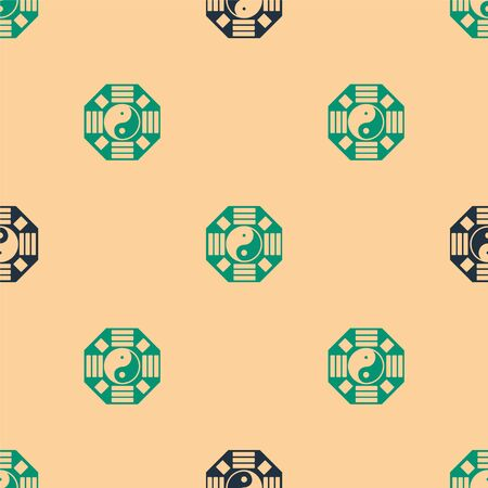 Green and black Yin Yang symbol of harmony and balance icon isolated seamless pattern on beige background. Vector Illustration 矢量图像