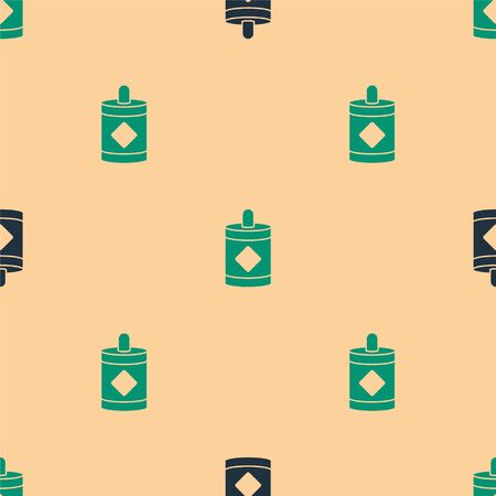 Green and black Firework icon isolated seamless pattern on beige background. Concept of fun party. Explosive pyrotechnic symbol. Vector Illustration