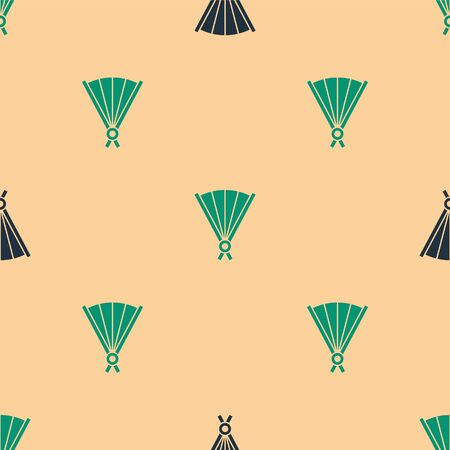 Green and black Traditional paper chinese or japanese folding fan icon isolated seamless pattern on beige background. Vector Illustration Vettoriali