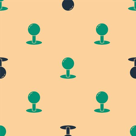 Green and black Push pin icon isolated seamless pattern on beige background. Thumbtacks sign. Vector Illustration