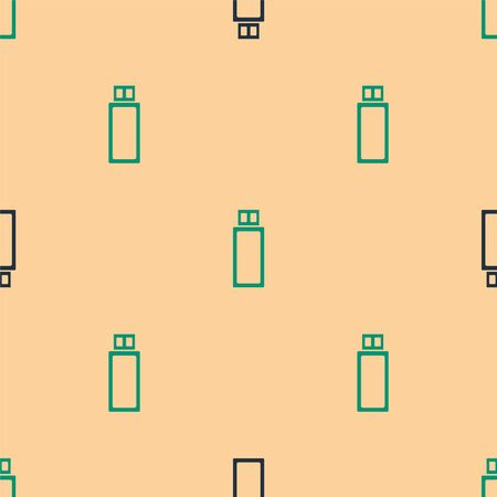 Green and black USB flash drive icon isolated seamless pattern on beige background. Vector Illustration
