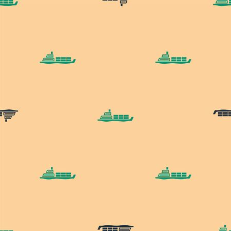 Green and black Oil tanker ship icon isolated seamless pattern on beige background. Vector Illustration