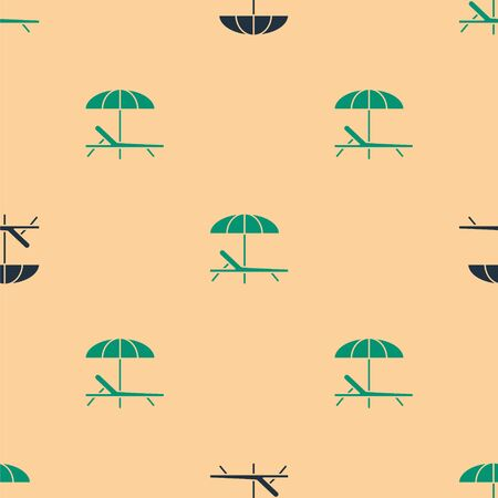Green and black Sunbed icon isolated seamless pattern on beige background. Beach umbrella and Sun lounger. Vector Illustration