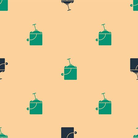 Green and black Sand in bucket with shovel icon isolated seamless pattern on beige background. Plastic kid toy. Summer icon. Vector Illustration Illustration