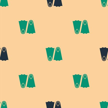 Green and black Rubber flippers for swimming icon isolated seamless pattern on beige background. Diving equipment. Extreme sport. Sport equipment. Vector Illustration