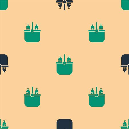 Green and black Cooler bag and water icon isolated seamless pattern on beige background. Portable freezer bag. Handheld refrigerator. Vector Illustration