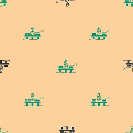Green and black Oil platform in the sea icon isolated seamless pattern on beige background. Drilling rig at sea. Oil platform, gas fuel, industry offshore. Vector Illustration Ilustração