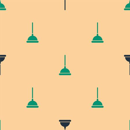 Green and black Rubber plunger with wooden handle for pipe cleaning icon isolated seamless pattern on beige background. Toilet plunger. Vector Illustration