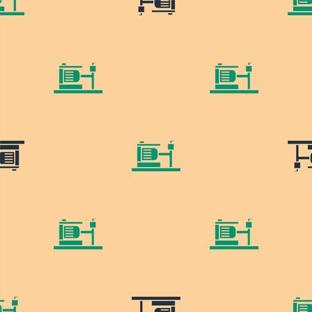 Green and black Electric water pump icon isolated seamless pattern on beige background. Vector Illustration 向量圖像