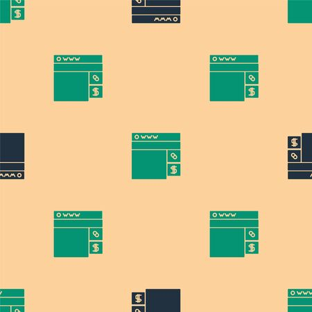 Green and black Buying drugs online icon isolated seamless pattern on beige background. Online buying symbol. Vector Illustration