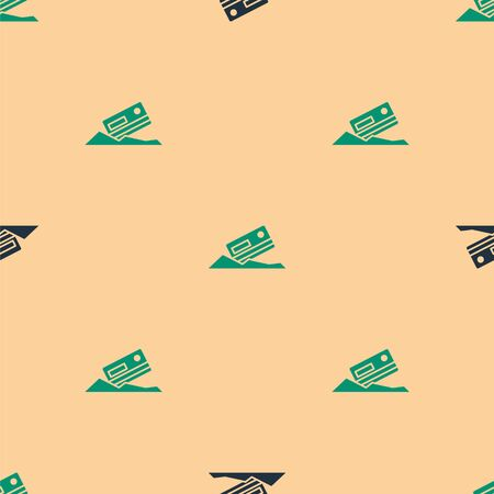 Green and black Cocaine and credit card icon isolated seamless pattern on beige background. Vector Illustration