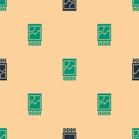 Green and black Open matchbox and matches icon isolated seamless pattern on beige background. Vector Illustration