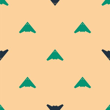 Green and black Jet fighter icon isolated seamless pattern on beige background. Military aircraft. Vector Illustration