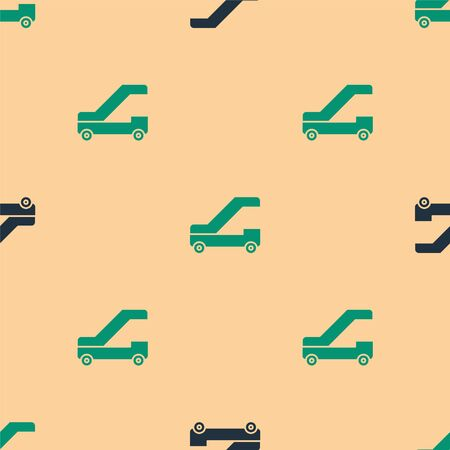 Green and black Passenger ladder for plane boarding icon isolated seamless pattern on beige background. Airport stair travel. Vector Illustration