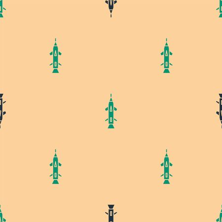 Green and black Rocket icon isolated seamless pattern on beige background. Vector Illustration