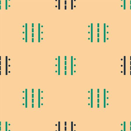 Green and black Airport runway for taking off and landing aircrafts icon isolated seamless pattern on beige background. Vector Illustration Иллюстрация