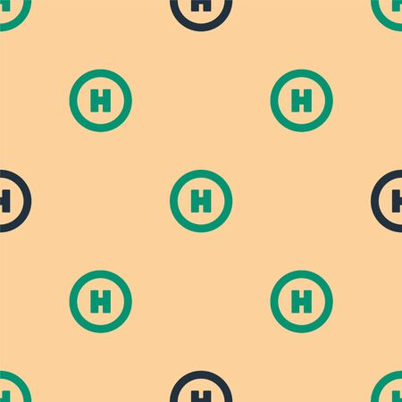 Green and black Helicopter landing pad icon isolated seamless pattern on beige background. Helipad, area, platform, H letter. Vector Illustration