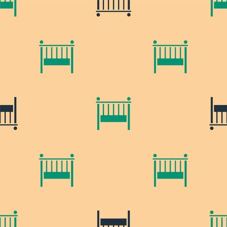 Green and black Baby crib cradle bed icon isolated seamless pattern on beige background. Vector Illustration