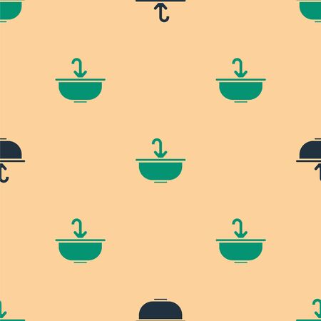 Green and black Washbasin with water tap icon isolated seamless pattern on beige background. Vector Illustration