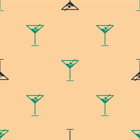 Green and black Martini glass icon isolated seamless pattern on beige background. Cocktail icon. Wine glass icon. Vector Illustration