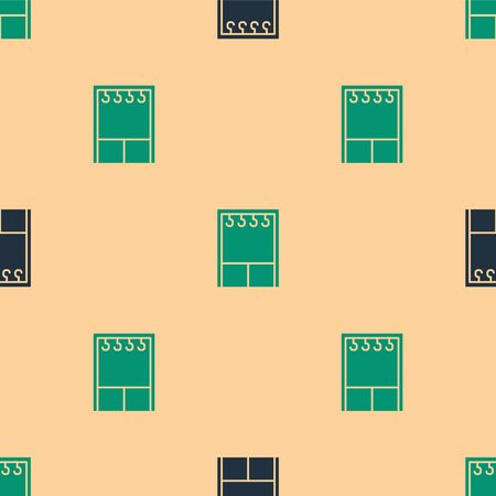 Green and black Wardrobe icon isolated seamless pattern on beige background. Vector Illustration