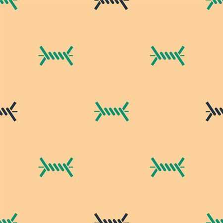 Green and black Barbed wire icon isolated seamless pattern on beige background. Vector Illustration Illusztráció