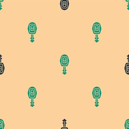 Green and black Car key with remote icon isolated seamless pattern on beige background. Car key and alarm system. Vector Illustration