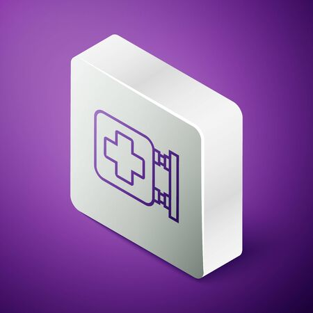 Isometric line Hospital signboard icon isolated on purple background. Silver square button. Vector Illustration