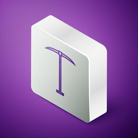 Isometric line Pickaxe icon isolated on purple background. Silver square button. Vector Illustration