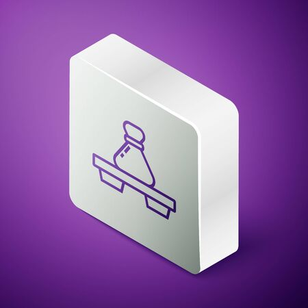 Isometric line Dumpling on cutting board icon isolated on purple background. Traditional chinese dish. Silver square button. Vector Illustration Ilustração