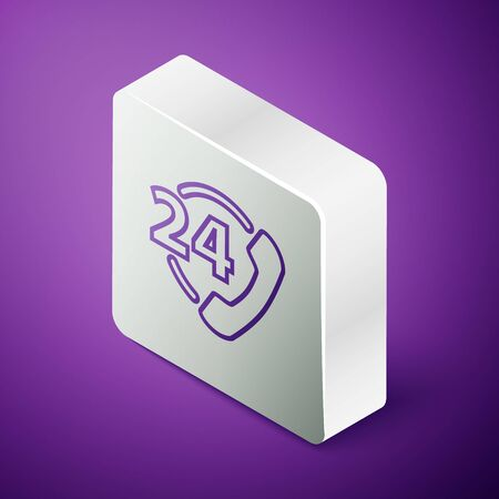 Isometric line Telephone 24 hours support icon isolated on purple background. All-day customer support call-center. Full time call services. Silver square button. Vector Illustration Vetores