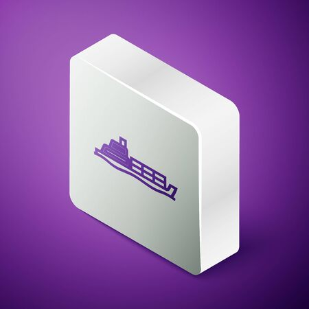 Isometric line Oil tanker ship icon isolated on purple background. Silver square button. Vector Illustration Illustration