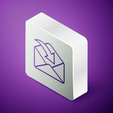 Isometric line Envelope icon isolated on purple background. Received message concept. New, email incoming message, sms. Mail delivery service. Silver square button. Vector Illustration Vector Illustratie