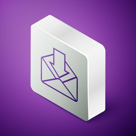 Isometric line Envelope icon isolated on purple background. Received message concept. New, email incoming message, sms. Mail delivery service. Silver square button. Vector Illustration