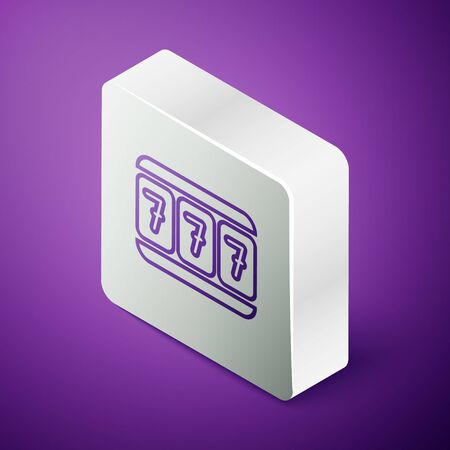 Isometric line Slot machine with lucky sevens jackpot icon isolated on purple background. Silver square button. Vector Illustration