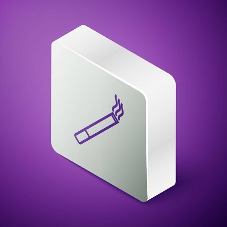Isometric line Cigarette icon isolated on purple background. Tobacco sign. Smoking symbol. Silver square button. Vector Illustration 矢量图像
