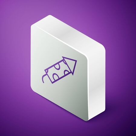 Isometric line Firework rocket icon isolated on purple background. Concept of fun party. Explosive pyrotechnic symbol. Silver square button. Vector Illustration