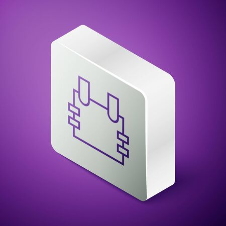 Isometric line Bulletproof vest for protection from bullets icon isolated on purple background. Body armor sign. Military clothing. Silver square button. Vector Illustration