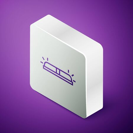 Isometric line Flasher siren icon isolated on purple background. Emergency flashing siren. Silver square button. Vector Illustration Ilustração