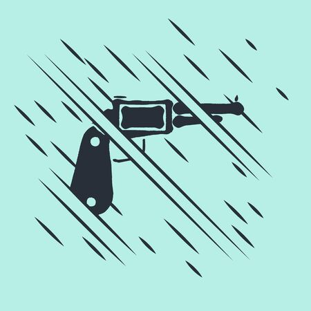 Black Revolver gun icon isolated on green background. Glitch style. Vector Illustration
