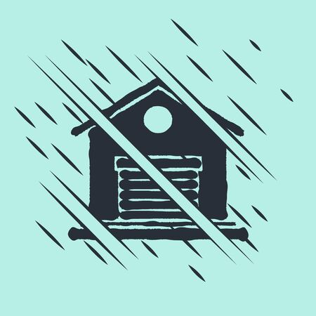 Black Warehouse icon isolated on green background. Glitch style. Vector Illustration