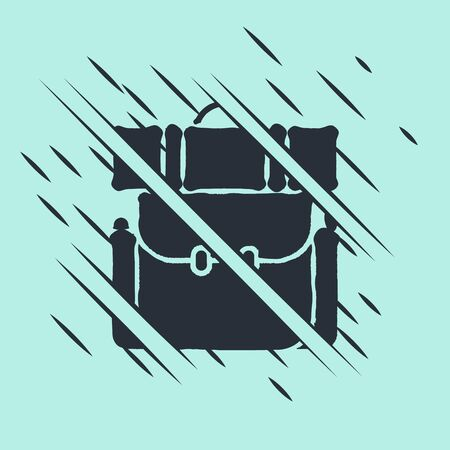 Black Hiking backpack icon isolated on green background. Camping and mountain exploring backpack. Glitch style. Vector Illustration
