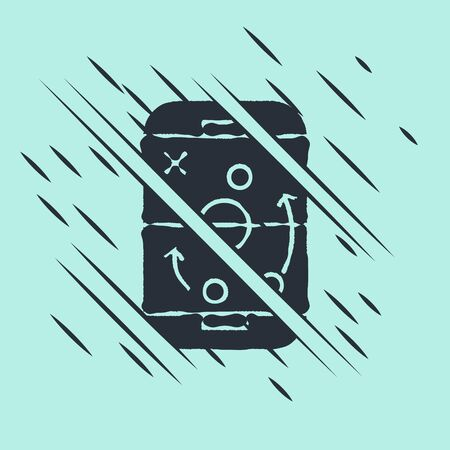 Black Planning strategy concept icon isolated on green background. Hockey cup formation and tactic. Glitch style. Vector Illustration