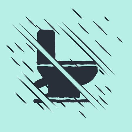 Black Toilet bowl icon isolated on green background. Glitch style. Vector Illustration Stock Illustratie
