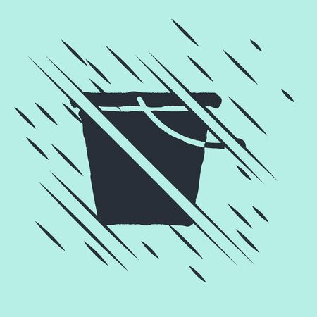 Black Bucket icon isolated on green background. Glitch style. Vector Illustration