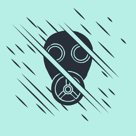 Black Gas mask icon isolated on green background. Respirator sign. Glitch style. Vector Illustration