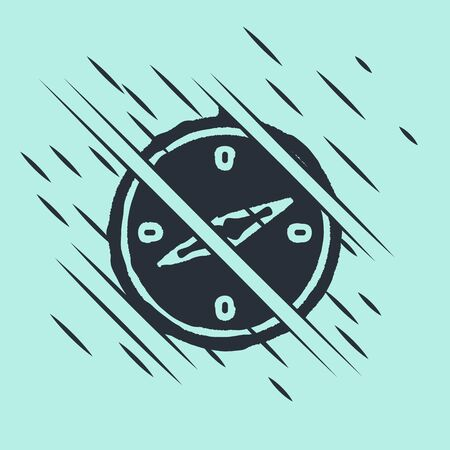 Black Compass icon isolated on green background. Windrose navigation symbol. Wind rose sign. Glitch style. Vector Illustration