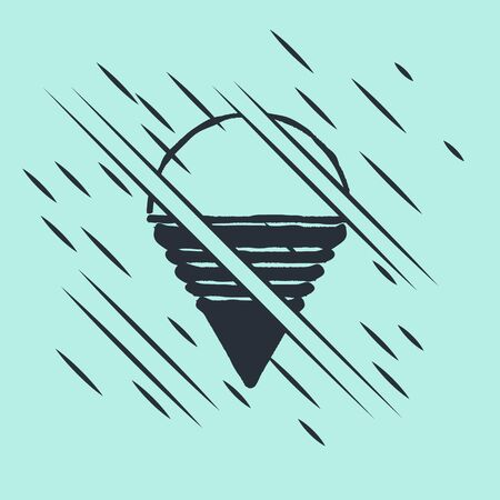Black Fire cone bucket icon isolated on green background. Metal cone bucket empty or with water for fire fighting. Glitch style. Vector Illustration Stock Illustratie