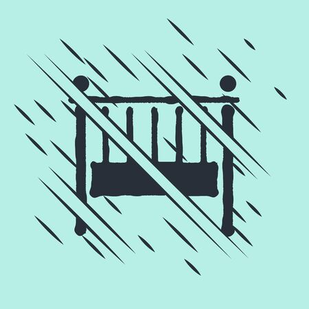 Black Baby crib cradle bed icon isolated on green background. Glitch style. Vector Illustration