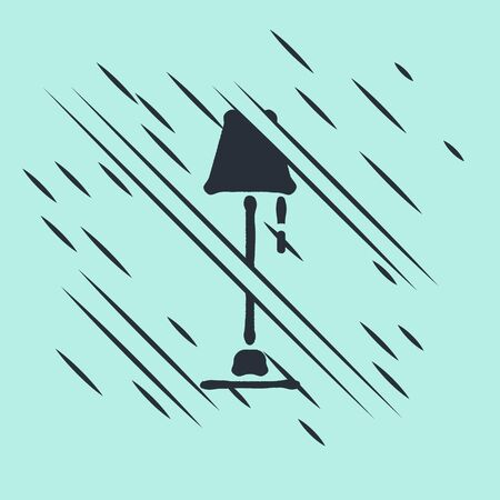 Black Floor lamp icon isolated on green background. Glitch style. Vector Illustration Illustration